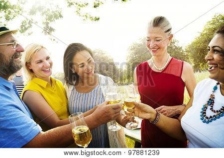 Diverse People Outdoors Hanging out Concept