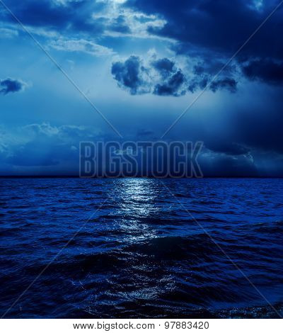 moonlight in clouds over water