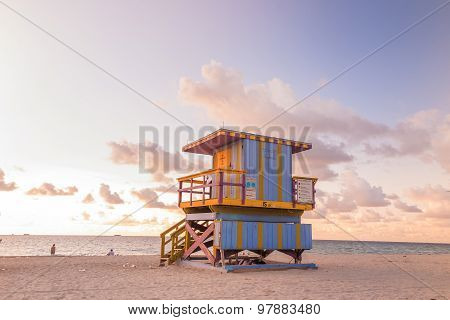 Lifeguard Tower In South Beach, Miami Beach, Florida