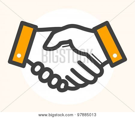 Hand shake, deal icon. Black outline drawing with orange color details.