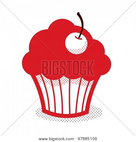 Simplified cupcake with cherry icon - red on white