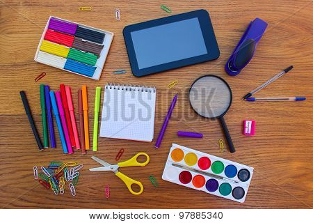 Stationery objects. Office and school supplies on the table. back to school.