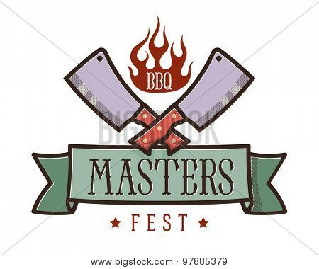 BBQ and grill fest emblem: two crossed meat cleavers and flame icon over the heraldic ribbon // Logo