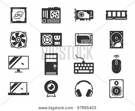 Computer components icon set: processor, motherboard, RAM, video card, hdd,ssd, sshd, power unit, cooler // Black & White