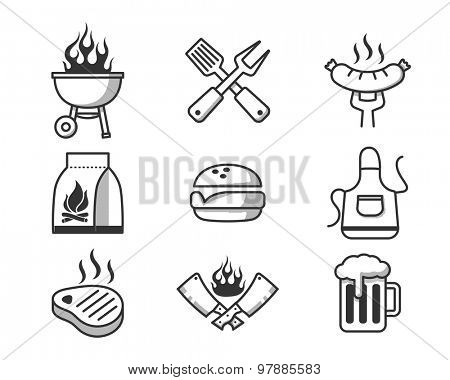 Barbecue and grill party elements. Black icons set  // Black & White