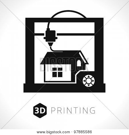3d printer icon. Illustration of desktop 3d printer // Black & White