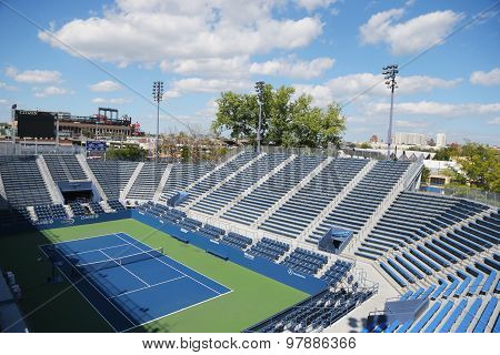 Grandstand Stadium at the Billie Jean King National Tennis Center during US Open 2014