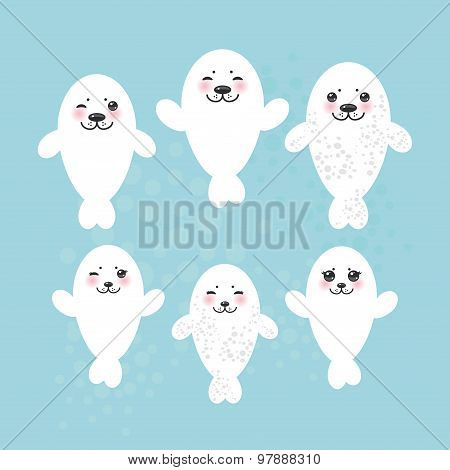 large set Funny white fur seal pups, cute winking seals with pink cheeks and big eyes. Kawaii animal