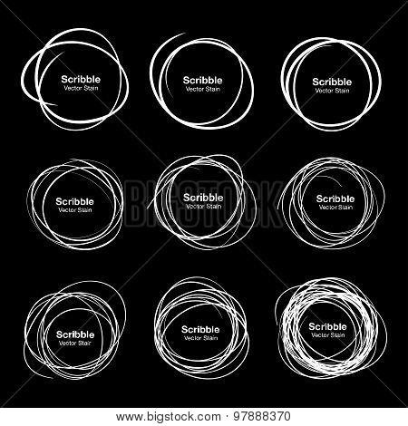 Set of 9 White Hand Drawn Scribble Circles