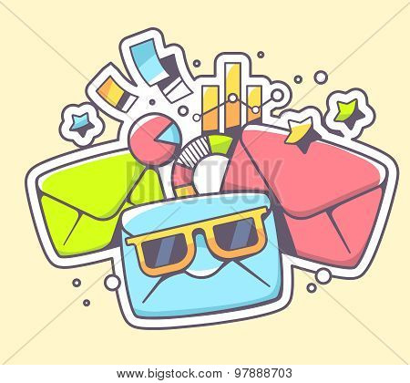 Vector Illustration Of Envelopes With Sunglasses And Financial Documents On Color Background.