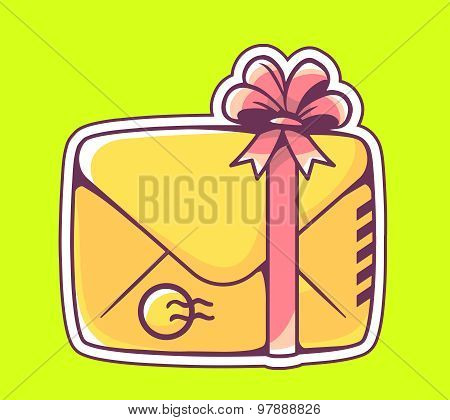 Vector Illustration Of Closed Yellow Envelope With Red Bow On Green Background.
