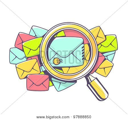 Vector Illustration Of Many Color Envelopes And Magnifying Glass On White Background.