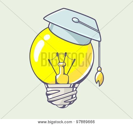 Vector Illustration Of Yellow Lightbulb With Graduation Cap On Color Background.