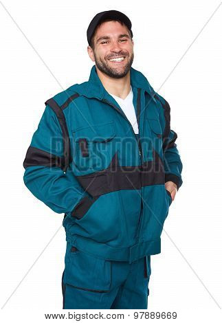Cheerful Engineer In Work Clothes On A White Background
