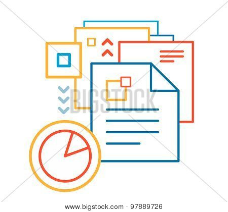 Vector Linear Illustration Of Color Documents On White Background.