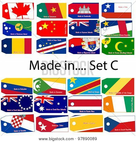 Illustration Vector Price Tag With Word Made In Country's Name Start With Letter C.