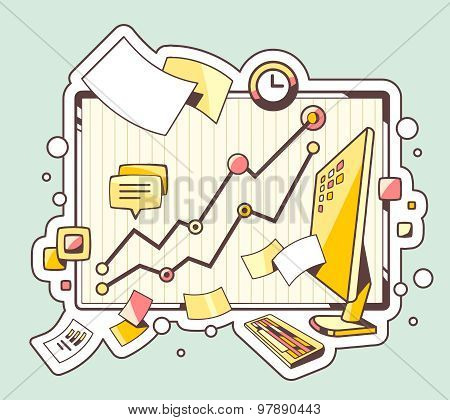 Vector Color Illustration Of Office Workplace On Green Background.