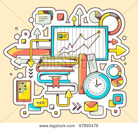Vector Colorful Illustration Of Business Education With Books And Board Teaching On Yellow Backgroun