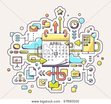Vector Colorful Illustration Of Business Meet Date With Calendar On Yellow Background.