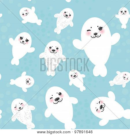 Seamless pattern Funny white fur seal pups, cute winking seals with pink cheeks and big eyes. Kawaii
