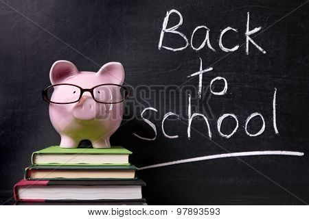 Piggy Bank With Back To School Message