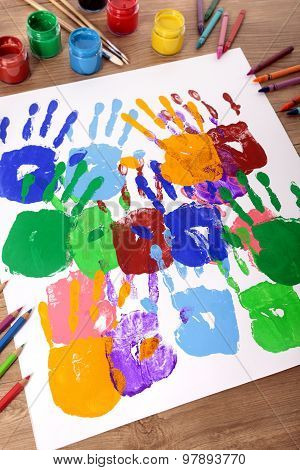 Handprints And Art Equipment