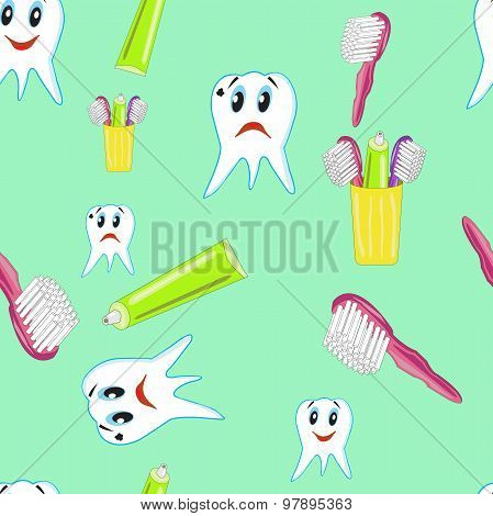 Funny Teeth With Toothpaste And A Toothbrush