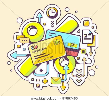 Vector Colorful Illustration Of Percentages On  Credit Cards On Yellow Background.