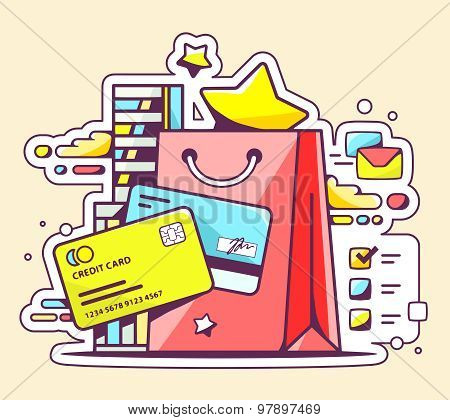 Vector Color Illustration Of Online Cashless Payment Via Credit Cards On Yellow Background.