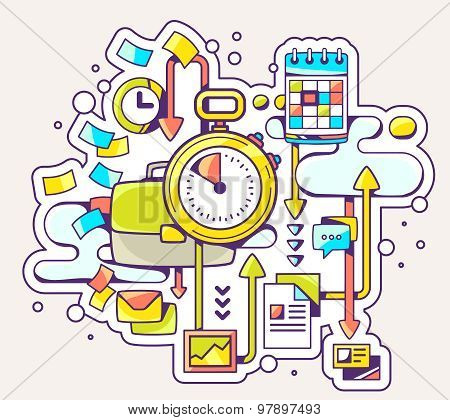 Vector Color Illustration Of Time Deadline On Light Background.