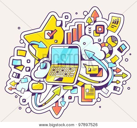 Vector Color Illustration Of Laptop Operation On Light Background.
