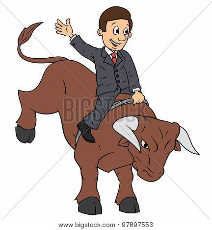 Businessman is riding bull