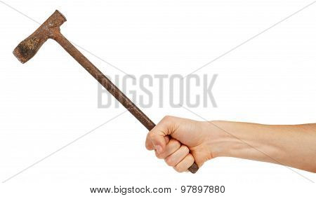 Old Metal Pickaxe In Male Hand