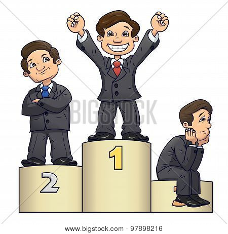 Businessmen are standing on pedestal 2