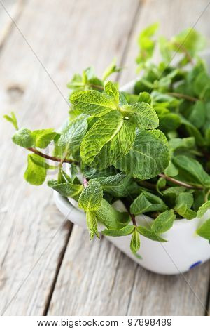Fresh Mint In Bowl On Grey Wooden Background