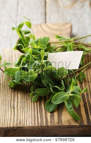 Fresh Mint On Grey Wooden Background