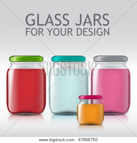 Glass bottles empty transparent set. Template of glass jars. Bank juice, jam, liquids.