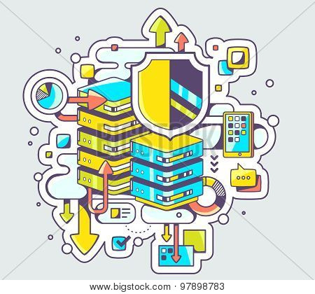 Vector Color Illustration Of Data Protection On Light Background.