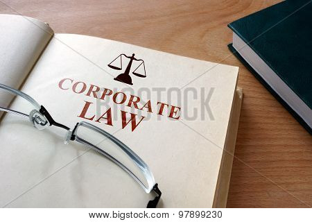 Notepad with words  corporate law.