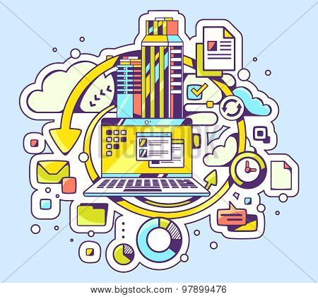 Vector Color Illustration Of Laptop And Business Processes On Blue Background.