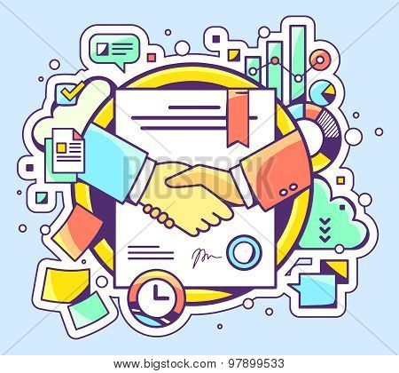 Vector Color Illustration Of Handshake With Contract Signed And Sealed And Graphs On Blue Background