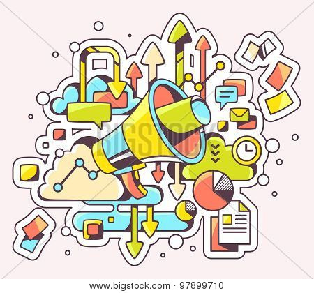 Vector Color Illustration Of Megaphone And Documents On Light Background.