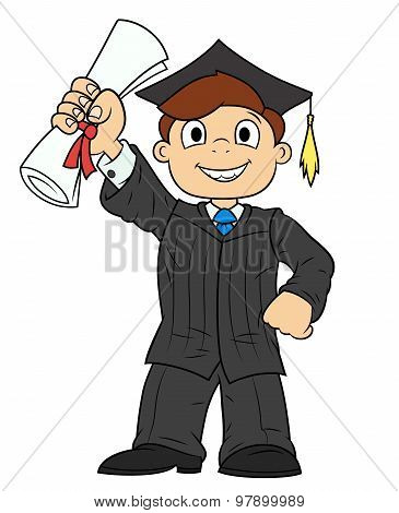 Student holding his diploma
