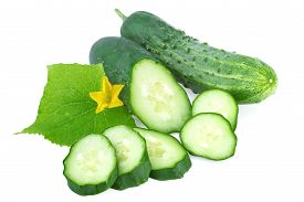 picture of cucumbers  - organic cucumber with leaf and slices of cucumber isolated on white - JPG