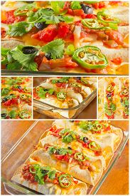 picture of enchiladas  - Variety of angles of enchilada casserole in Mexican food collage - JPG