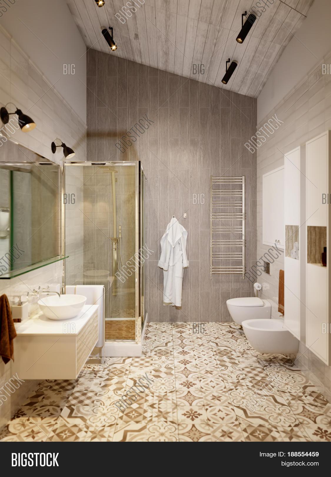 Rustic provence loft bathroom shower wc room interior for Provence bathroom design