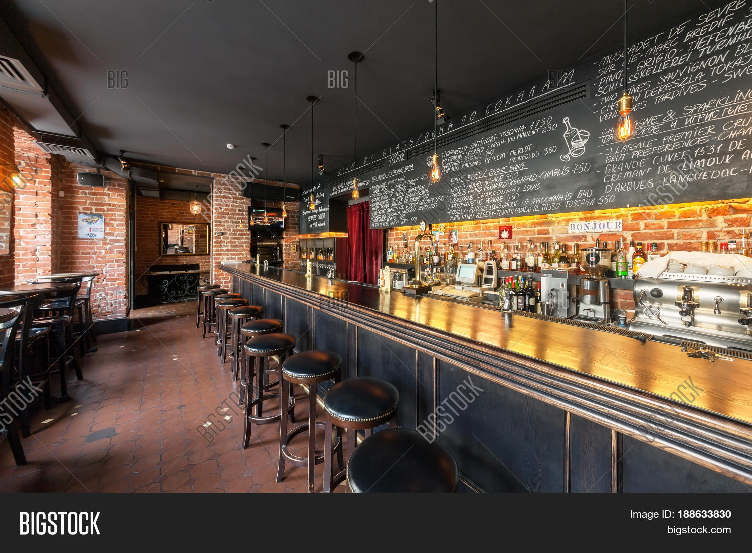"""moscow - august 2014: the interior of the wine bar """"gavroch"""". long"""