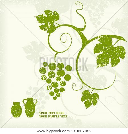 Green grape vine silhouette background.