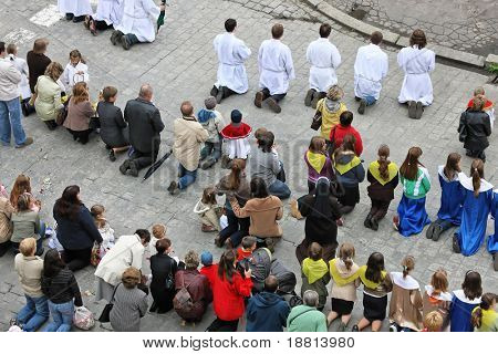 WROCLAW, POLAND -JULY 19, 2008: Annual Catholic Religious procession on streets in Wroclaw, July 19, 2008 in Wroclaw,  Poland