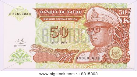 Old banknote from Zaire with Mobutu